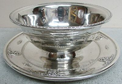 Wallace Sterling Silver Rose Point Chip And Dip Bowl & Attached Underplate