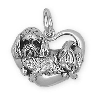 Sterling Silver Maltese Dog in Heart Charm Jewelry - T5C