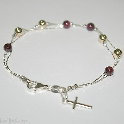 3 pcs Sterling Silver 925 Chains GARNET & GOLD FILLED Bead BRACELETS with CROSS