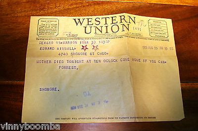 1939 Western Union Telegram Chicago Mother Died Vintage Guilt Trip !!!!!