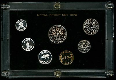 1972 Nepal Seven Piece Proof Set in Original Mint Plastic Case Only 3943 Minted