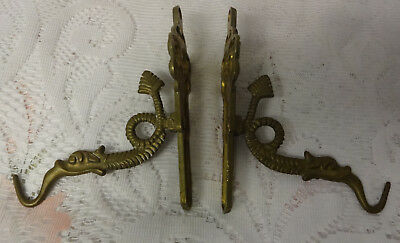 Antique 1800's Ornate Brass Romeo Juliet Wall Mirror Oil Candle Lamp Hook Hanger
