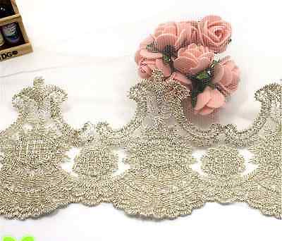 1yard Delicate Gold threads Embroidered tulle lace trim Handicrafts Sewing FL58