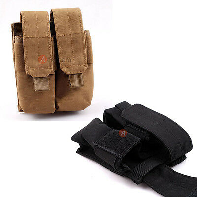 Military Tactical MOLLE PALS Double Pistol Magazine Mag Tool Pouch Holster