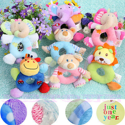 Soft Plush Baby Kids Animal Model Wrist Hand Bell Rattle Stuffed Educational Toy