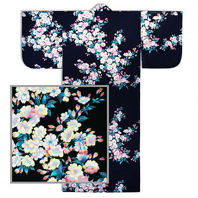 "Japanese Kimono Cotton Yukata SAKURA Pattern/58""L/Black/ MADE IN JAPAN"