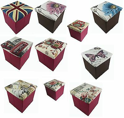 Ottoman Tapestry Design Storage Box Foot Stool Folding Seat Chest Foldable New