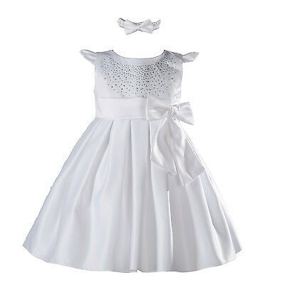 New Baby White Satin Christening Party Dress+Headband 9-12 Months