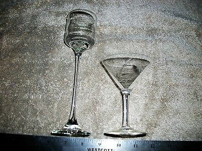 Vintage Pair Of Stemed Glasses-Small Sherry And Long Stemed Hand Blown!
