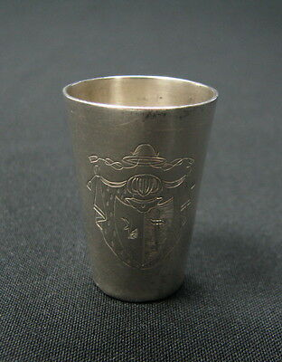 ANTIQUE MINI LIQUEUR CUP MARKED SILVER 800 COAT OF ARMS 16.6 GR x