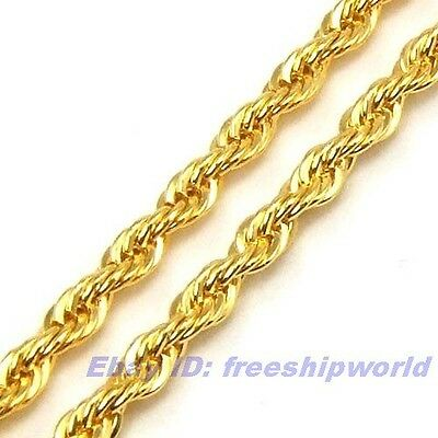 """3pcs Wholesale 23.4""""3mm REAL CHIC 18K YELLOW GOLD GP ROPE NECKLACE SOLID CHAIN"""