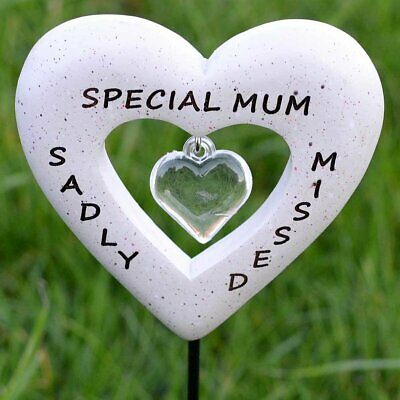 Sadly Missed Special Mum Love Heart Memorial Tribute Stick Graveside Plaque