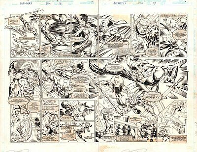Avengers #394 pgs16&17 DPS - Vision and Giant-Man - 1996 art by Mike Deodato Jr.