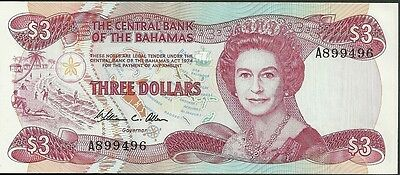 1974 Central bank of the bahamas 3 dollars currency note paper money three crisp