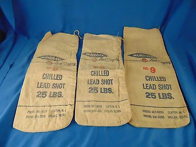 Vintage empty Murdock Co. Chilled Lead Shot 25 lb. bags 3 hunting goods