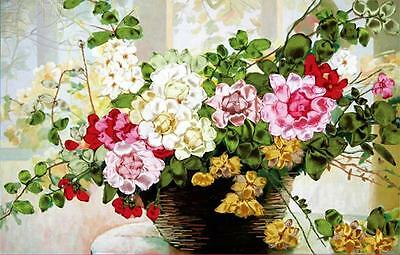 Ribbon Embroidery Kit A Basket of Rose Flowers Needlework Craft Kit XZ1028
