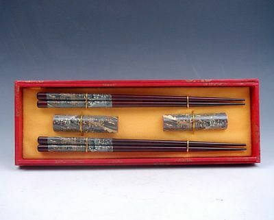 Gift Set 2 Pairs Chinese Ancient Bazaar Painted Wooden Chopsticks w/ 2 Holders