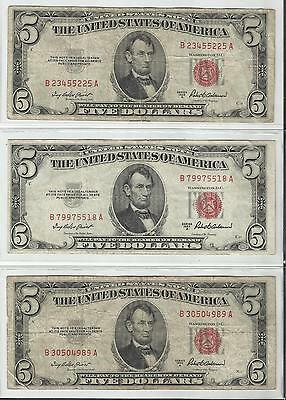 3 Notes~~1953 A~~ $5 United States Notes~~Red Seal~~$15 Face