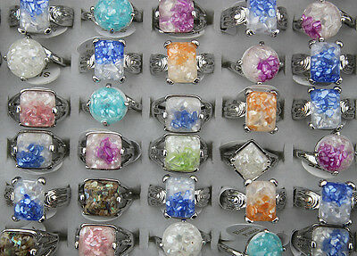 Wholesale Mixed Lots 50pcs Nature Shell Resin Colorful Charm Lady's rings EH344