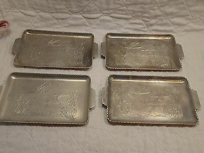 """LOT OF 4 VTG EMBOSSED ALUMINUM SNACK TIP CARD TRAYS DUCK GEESE CATTAILS 4x7"""" EUC"""