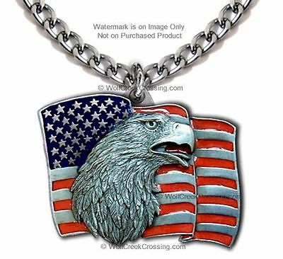 """American Proud Usa Freedom Eagle Flag Necklace Patriotic Gift  24"""" Heavy Chain *"""