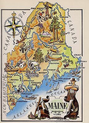 Charming MAINE Map Fishing Hunting Logging  FUN Whimsical 1940s Picture Map 2465