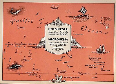 1945 PACIFIC ISLANDS Map Fun and Funky POLYNESIA Picture Map HAWAII 2473