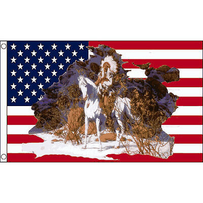 USA Indian Chief On Horse Flag 5 x 3 FT - United States Native American Apache