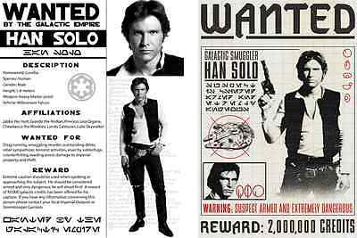 Star Wars Set Of 2 Han Solo Wanted Poster Prop/Replica Prints   Harrison Ford