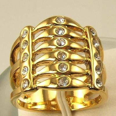 3pcs Wholesale Size 9 Ring,REAL AFRICA 18K YELLOW GOLD GP GEMSTONE SOLID FILL