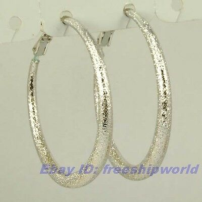 """3pair Wholesale 1.5"""" REAL CHIC 18K WHITE GOLD GP HOOP EARRING SOLID FILL GEP"""