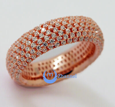 Wedding ETERNITY RING 7mm Band Pave Set Signity CZ Rose Gold Sterling Silver