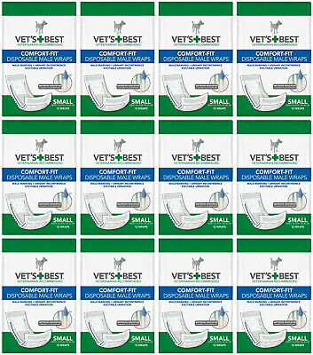 Vet's Best Comfort-Fit Disposable Male Wraps Small 144ct (12x12ct)