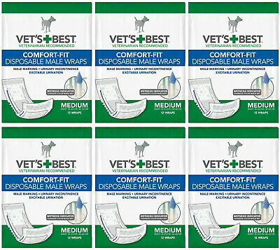 Vet's Best Comfort-Fit Disposable Male Wraps Medium 72ct (6x12ct)