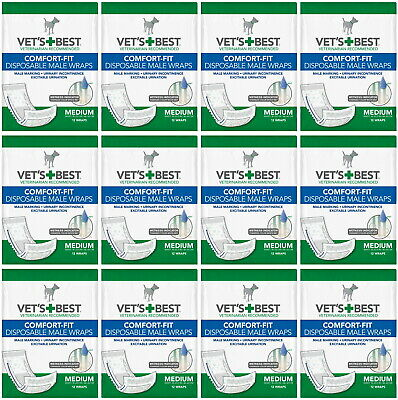 Vet's Best Comfort-Fit Disposable Male Wraps Medium 144ct (12x12ct)