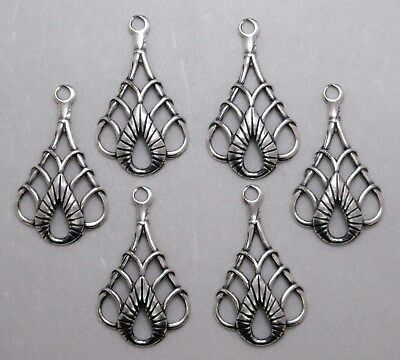 #3155 ANTIQUED SS/P CELTIC STYLE TEARDROP W/TOP HANG RING - 12 Pc Lot
