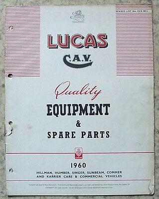 LUCAS ROOTES Equipment & Spare Parts 1960 #901J HILLMAN HUMBER SINGER SUNBEAM