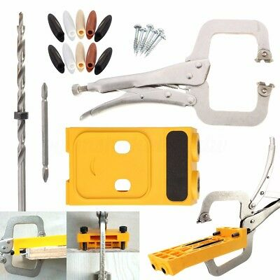 Pocket Hole Jig Kit Drill Guide Hole Locator Clamp Step Drill Set Woodwork Tool