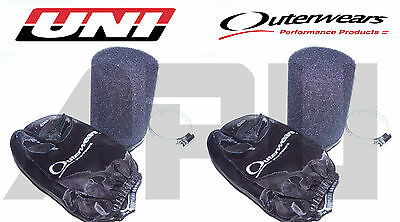 (2) 87-06 Yamaha 350 Banshee Uni Air Filters Prefilters For Stock Carbs