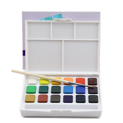 Sakura&Talens 18 Color Solid WaterColor Portable Palette Sketch Box W/Brushes