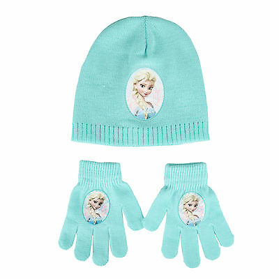Childrens Disney Frozen Mint One Size Winter Hat & Gloves Warm Accessory Set New