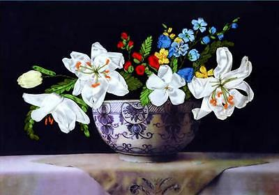 Ribbon Embroidery Kit Blooming Flowers in Blue and White Porcelain Pot XZ1035