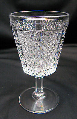 Fostoria Pattern Glass Later Paneled Diamond Point Glass Water Goblet