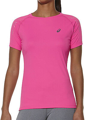 Asics Tiger Stripe Short Sleeve Breathable Ladies Running Training Top - Pink