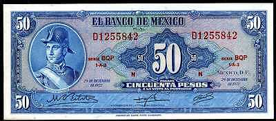 MEXICO  - 50  PESOS 1972  Serie BQP  - P 49u about Uncirculated Banknotes