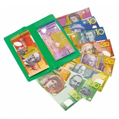 NEW A Wallet of Australian Based Pretend Play Money - 100 Sized Notes