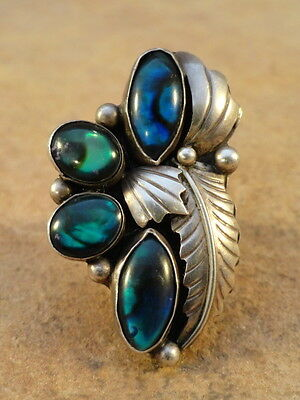 Vintage Pawn Paua Shell & Sterling Silver Ring