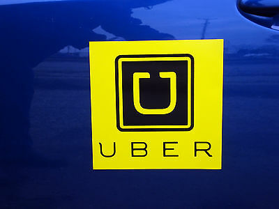 "1  UBER  100% Magnetic CAR VEHICLE SIGN  8"" x 8"" FREE SHIPPING! yellow"