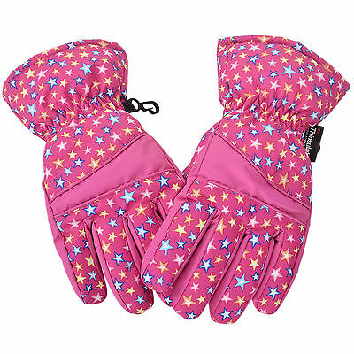 Girls Teenagers 3M Thinsulate Lined Waterproof Snowboard / Ski Gloves Pink L