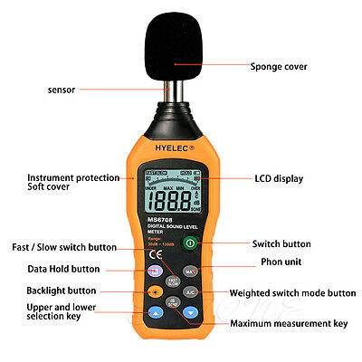 LCD Digital Audio Decibel Sound Noise Level Meter Monitor 30-130dB HYELEC MS6708